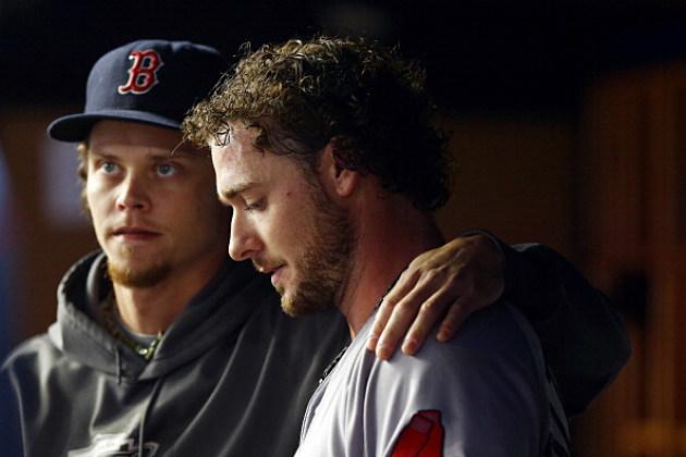 Jarrod Saltalamacchia consoled by Clay Buchholz