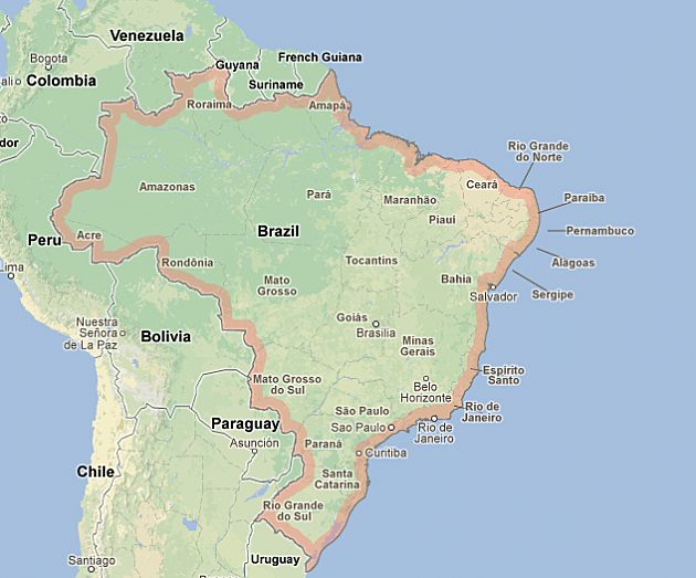 Hundreds Killed In Brazil Nighclub Fire - Google map of brazil