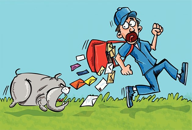Cartoon postman chased by a dog