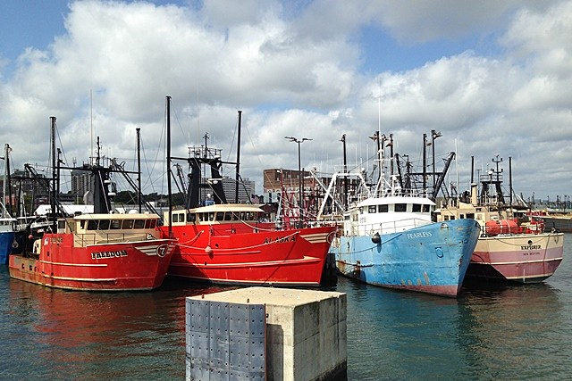 New Bedford waterfront ships